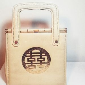 Vintage Cream Tone Leather Purse w/ Asian Emblem